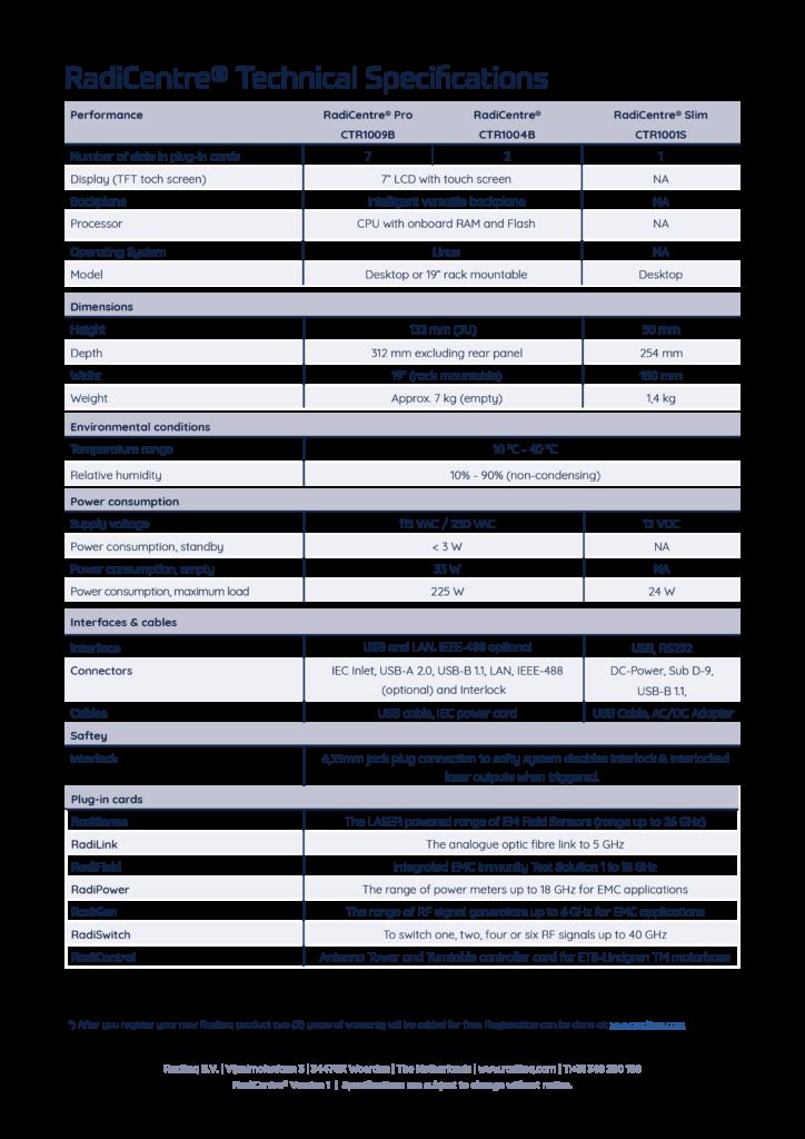 RadiCentre® Specifications